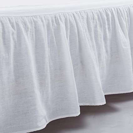 What Is A Bed Skirt.Meadow Park Washed French Linen Bed Skirt Dust Ruffle Queen Size Super Soft Ruffle Style White Color