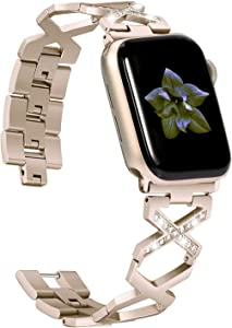 Wearlizer Compatible with Apple Watch Bands 38mm 40mm for iWatch SE Womens Replacement Bling Rhinestone Straps Stainless Steel Wristband Beauty Dressy Metal Bracelet Series 6 5 4 3 2 1-Scrub Gold