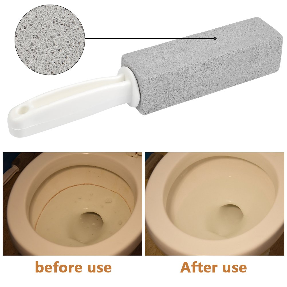 FOCCTS 3PCS Toilet Bowl Pumice Cleaning Stone Scouring Sticks with Handle, Remove Hard Water Ring Rust Stain for WC Loo Bathtub Tile Pool with Drain Snake Pipe Cleaner by FOCCTS (Image #2)