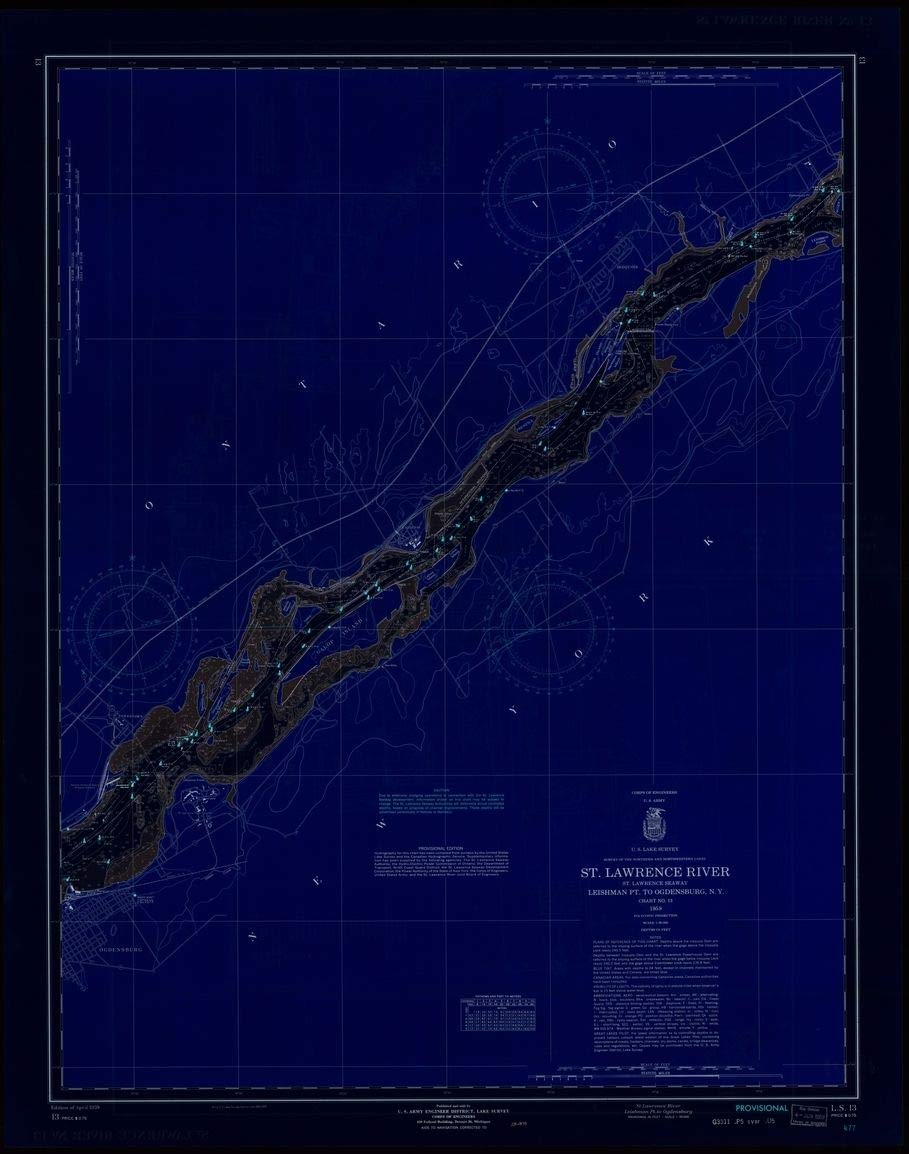 Vintography Blueprint Style 18 x 24 Reprint of 1959 Nautical Chart ST. Lawrence River, ST. Lawrence Seaway, LEISHMAN PT. to Ogdensburg, N.Y. by Lake Survey NY