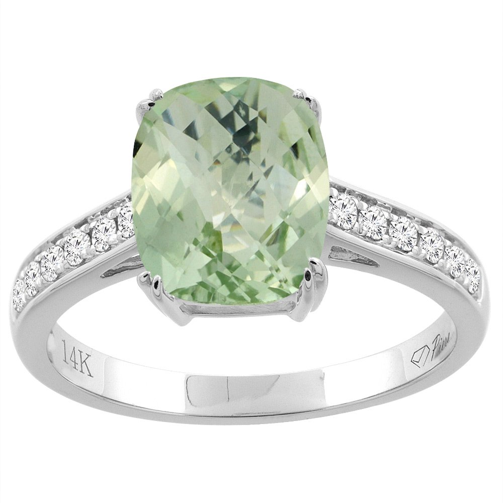 14K White Gold Natural Green Amethyst Ring Cushion Cut 9x7 mm Diamond Accents, size 9