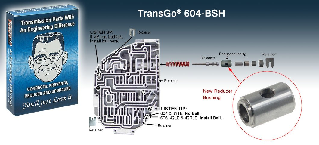 Transgo 604BSH Bushing, Boost Valve 42RLE A604 Transmaxx