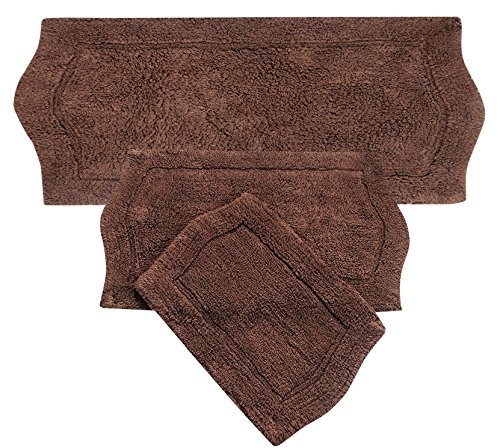 Home Weavers 3 Piece Waterford Set Rug, Chocolate, 22'' x 60'' by Home Weavers
