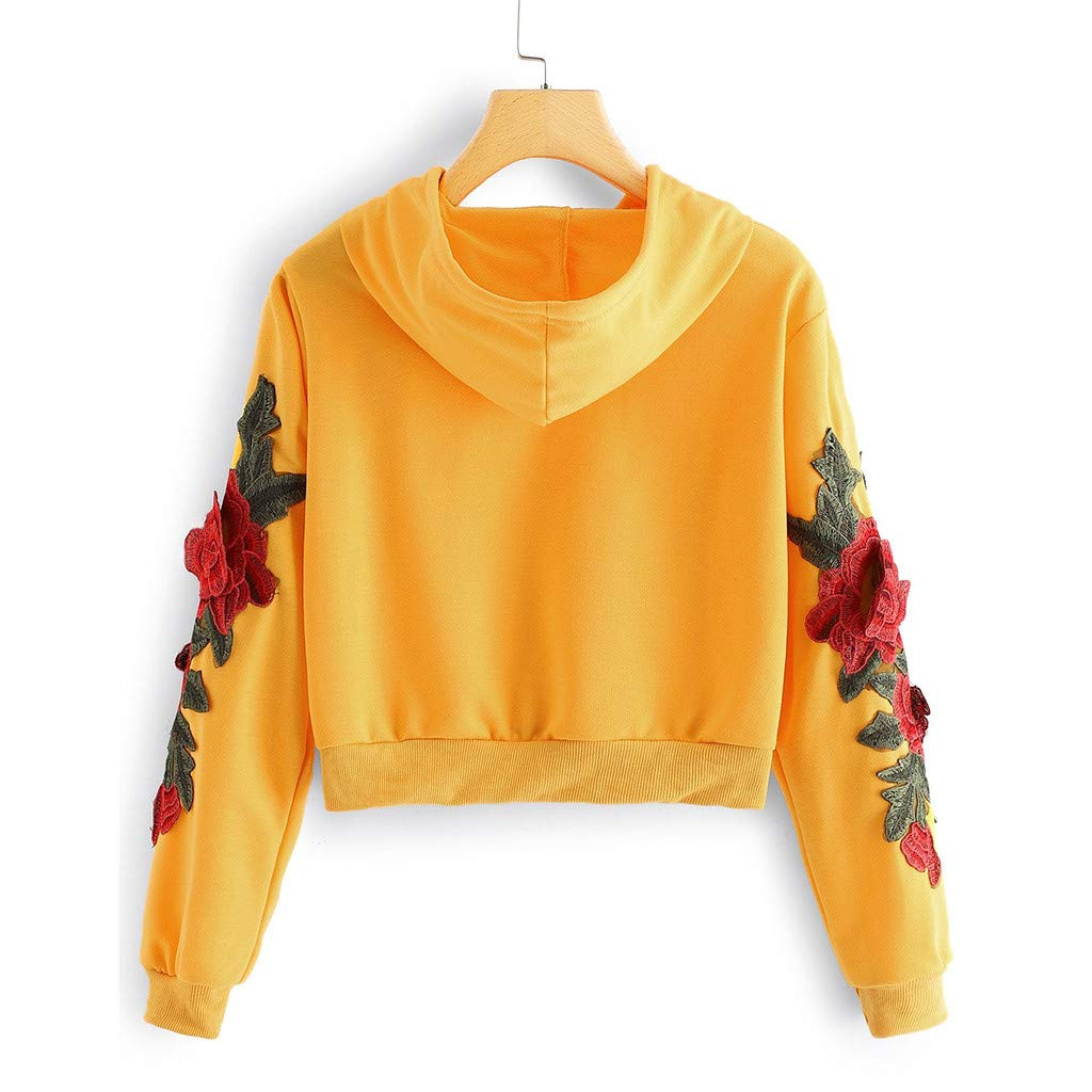 Autumn Sweatshirt for Women Long Sleeve Rose Applique Crop Top Drawstring Pullover Top Blouse T-Shirt (Yellow,M) by TozuoyouZ