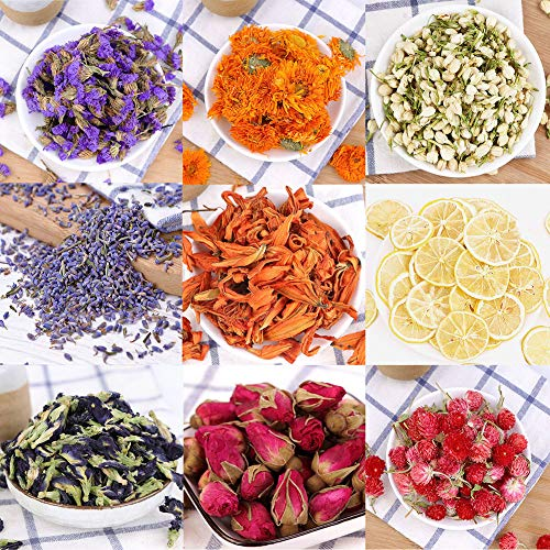 Oameusa Dried Flowers,Dried Flower Kit,Candle Making, Soap Making, AAA Food Grade-Pink Rose, Lavender,Rose Leaf,Don