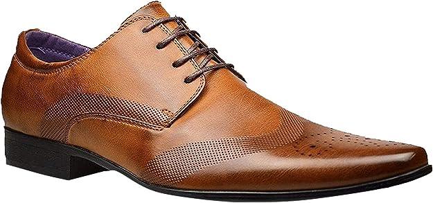 Hombre Forrado en Piel Fiesta Formal Vestido Oficina Boda Cordones Zapatos Formales – Talla UK 6 7 8 9 10 11 12