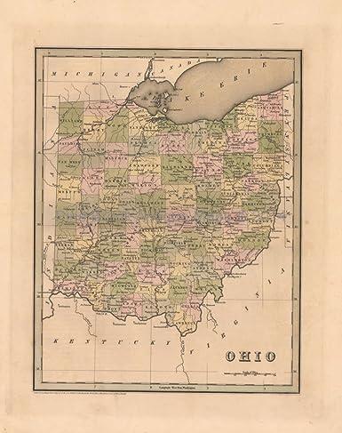 Antique Ohio Map.Ohio Antique Map Bradford 1838 Original Home Decor Housewarming