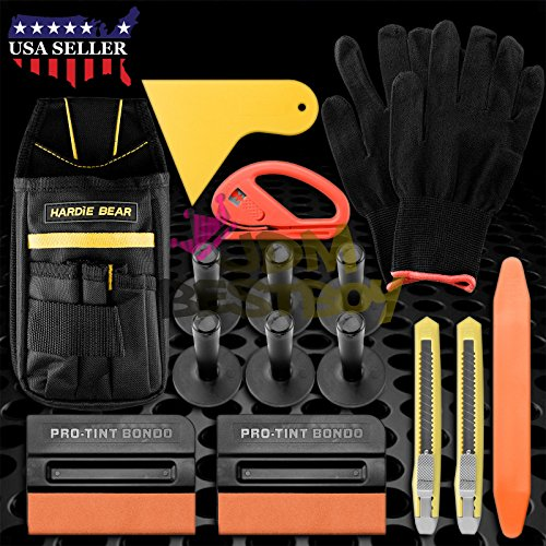 Vinyl Combo Pouch - Professional Tools Kit Car Wrap Vinyl Scratchfree Squeegee with felt Razor Snitty Safety Cutter Gloves 6 Magnets Bag Pouch Combo Set TK07