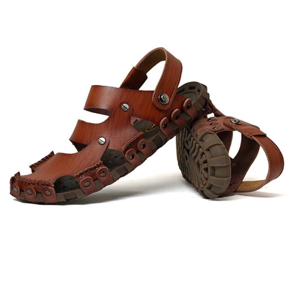 Sandalias de Pescador para Hombre Sandalia Respirable de Cuero Antideslizante Zapatillas de Playa de Verano Ajustables adecuadas para Deportes de Ocio Interior y Exterior 42 2/3 EU|Coffee