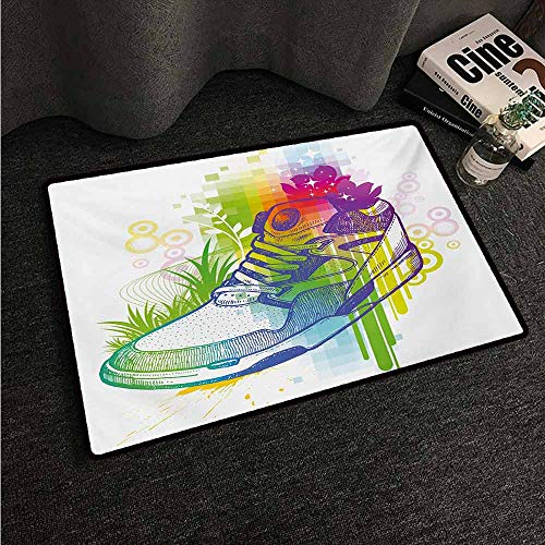 HCCJLCKS Interior Door mat Colorful Hand Drawn Magic Boot with Flowers Dots Grass Pixels with Digital Effect Print All Season General W30 xL39 Multicolor
