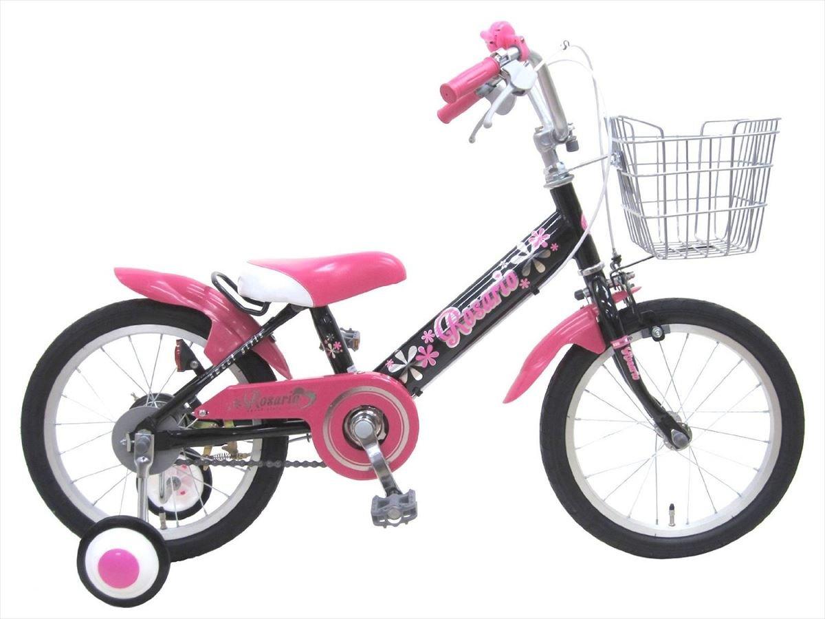 【組立済み】 ロサリオ(ROSARIO) 補助輪付き 幼児用自転車 ブラックピンク 16インチ