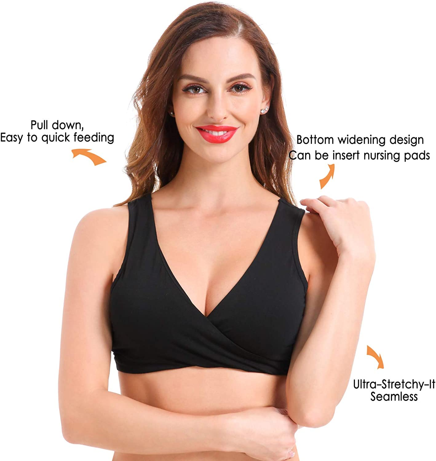Ceestyle Womens Cotton Seamless Wide Shoulder Straps Sleep Bra for Nursing and Maternity 2020 Upgraded Version