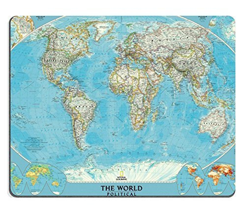 Map World Land Ocean Continent Mouse Pads Customized Made to Order Support Ready 9 7/8 Inch (250mm) X 7 7/8 Inch (200mm) X 1/16 Inch (2mm) High Quality Eco Friendly Cloth with Neoprene Rubber Luxlady Mouse Pad Desktop Mousepad Laptop Mousepads Comfortable Computer Mouse Mat Cute Gaming Mouse pad