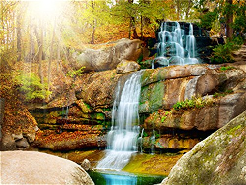 Diy Oil Paint by Number Kit for Adults Beginner 16x20 inch - Golden Stone Waterfall, Drawing with Brushes Christmas Decor Decorations Gifts ()