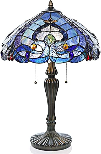 "River of Goods 15051 Tiffany Style Stained Glass Sea Shore Table Lamp 24.25"" H"