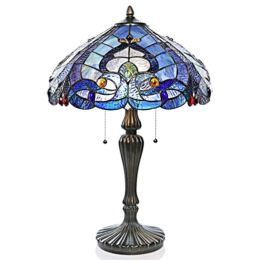 24.25 H Tiffany Style Stained Glass Sea Shore Table Lamp