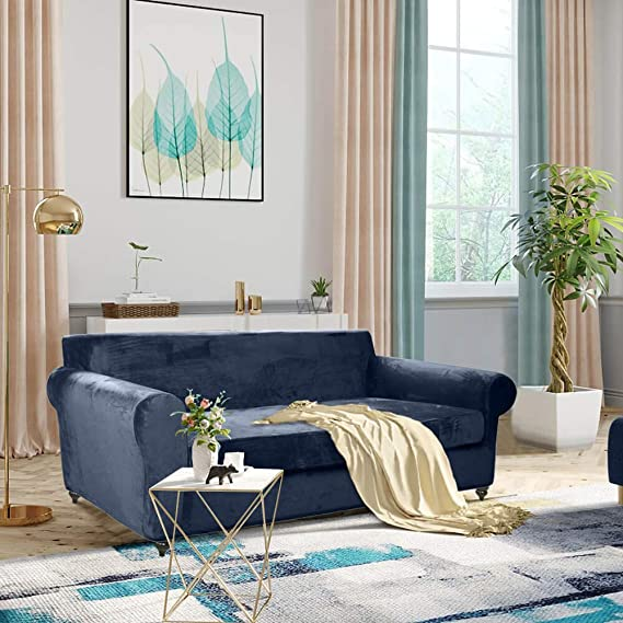 Amazon.com: MOYMO 2-Piece Stretch Velvet Couch Cover, High ...