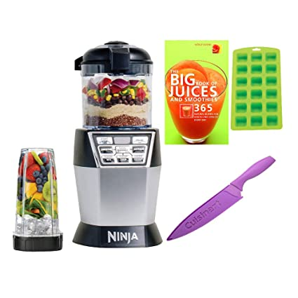 Ninja 1200 Watts Single Serve Nutri Bowl Duo with Auto-iQ Boost (NN102), Silver/Black includes Knife, Ice Cube Tray and Cookbook Bundle (renewed)