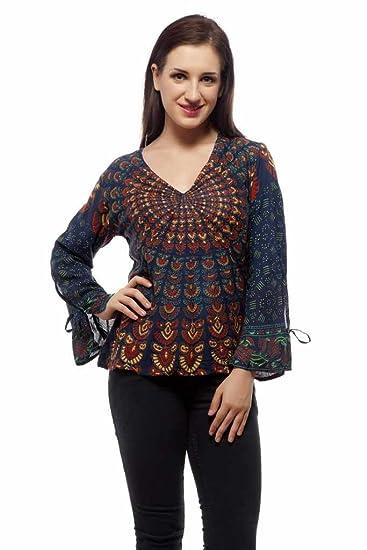 395fad36787e54 Indi Bargain Women s Viscose Printed Top (203Green Green Medium ...
