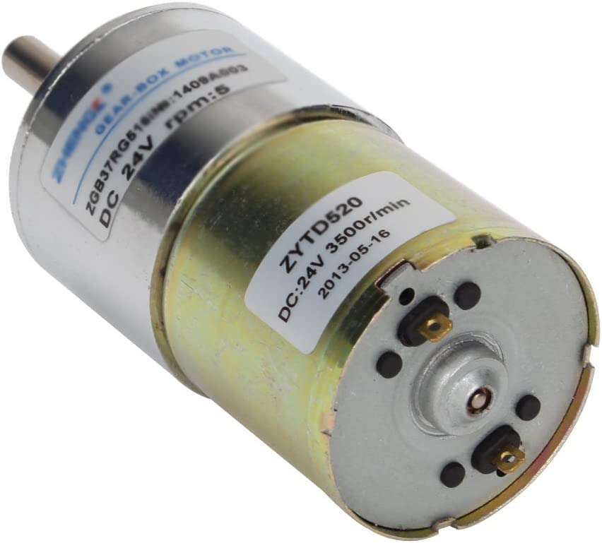 High Torque Reversible Electric Geared Motor 24V//500RPM Yadianna DC Gear Motor with Eccentric Output Shaft Gearbox