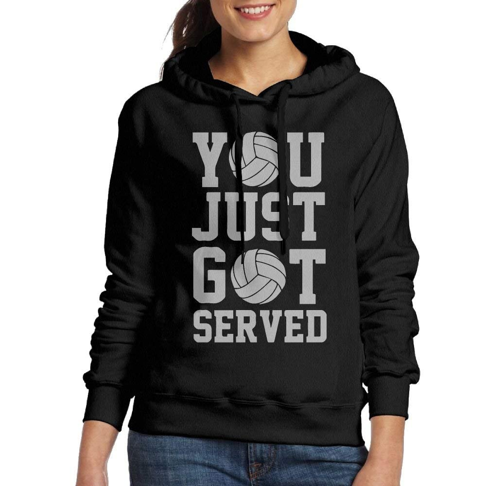 bikini bags You Just Got Served Volleyball Womens Classic Pullover Print Hoodie Hooded Sweatshirt with Drawstring Medium