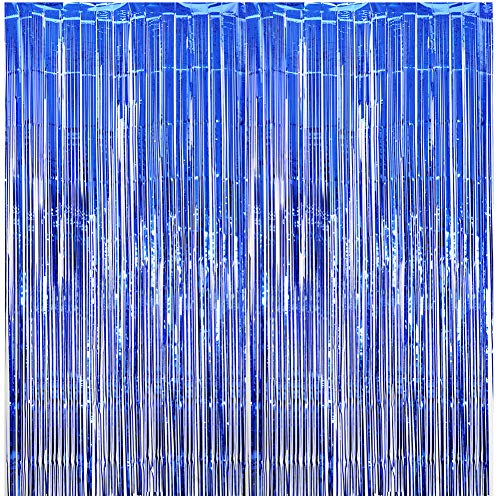 (AOFEN Foil Fringe Curtains 3.2 ft x 8.2 ft Metallic Tinsel Backdrop Curtains Photo Booth Props- Perfect for Birthday Graduation Wedding Bridal Party Decorations (Blue,)