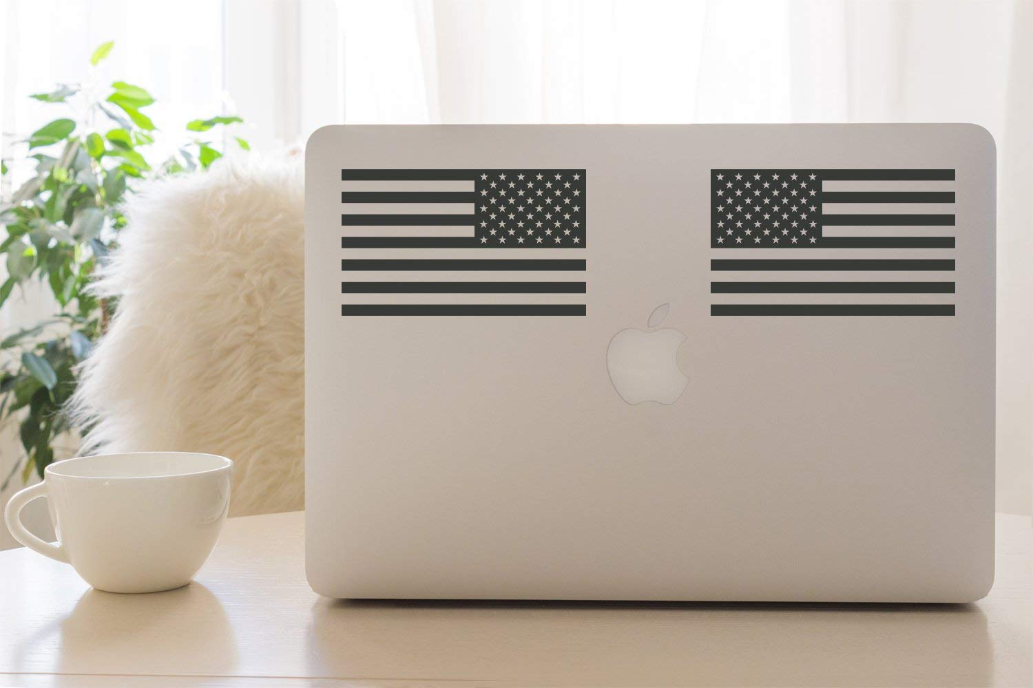 Matte Dark Grey Classic Biker Gear Subdued American Flags Tactical Military Flag USA Decal Jeep 5x3