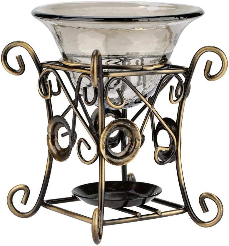 quemador de horno con aroma l/ámpara de aceite esencial de aromaterapia con forma de ciervo Horno con quemador de horno de aroma de metal vintage con cuenco de vidrio 318#