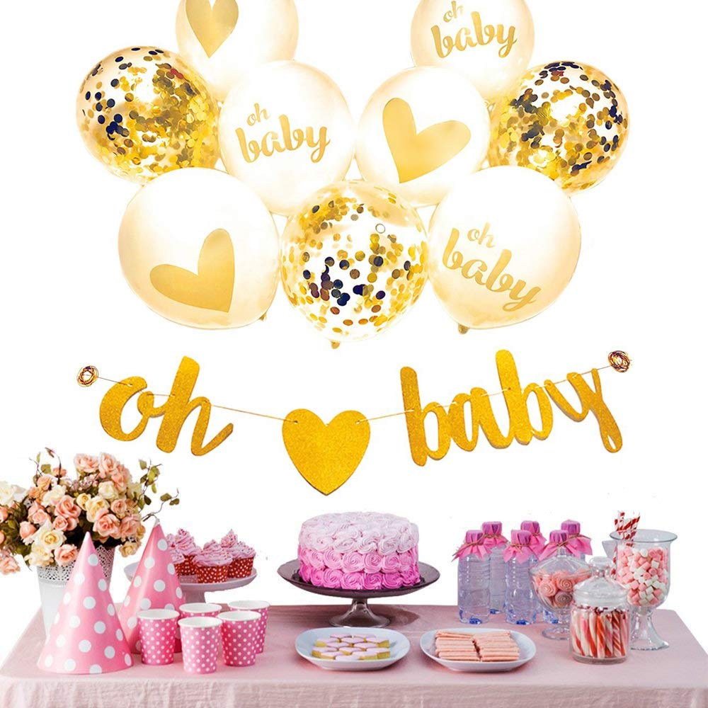Amazon.com: Gold and White Baby Shower Decorations for Boy and Girl ...