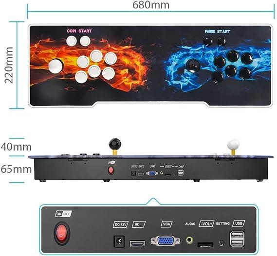 TAPDRA Pandoras Box 9 Joystick y Botones multijugador Arcade Console, Arcade Games Machines, 1500 Retro Video Games All in One, el Sistema más Nuevo con CPU Avanzada Compatible con HDMI y VGA: