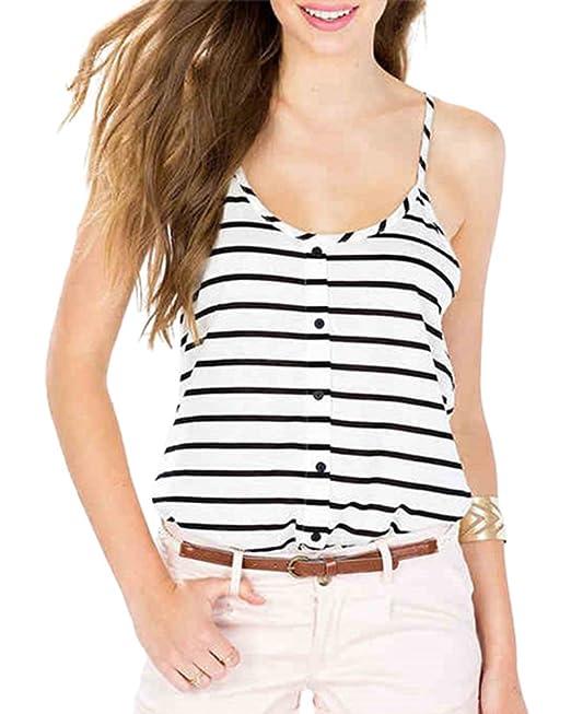 YOUJIA Mujeres Rayas Camisola Elegante Verano Playa Camisetas Tirante Blusas (Rayas, XXL)