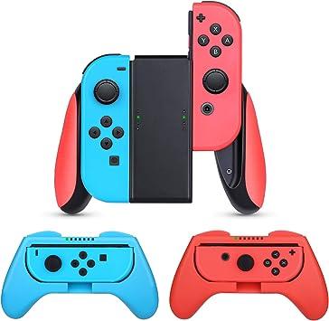 HEYSTOP Nintendo Switch Joy-con Grips (3 Piezas), Estuche Protector Handle Kits para Mandos JoyCon Set de Nintendo Switch Controller,Rojo & Azul: Amazon.es: Electrónica