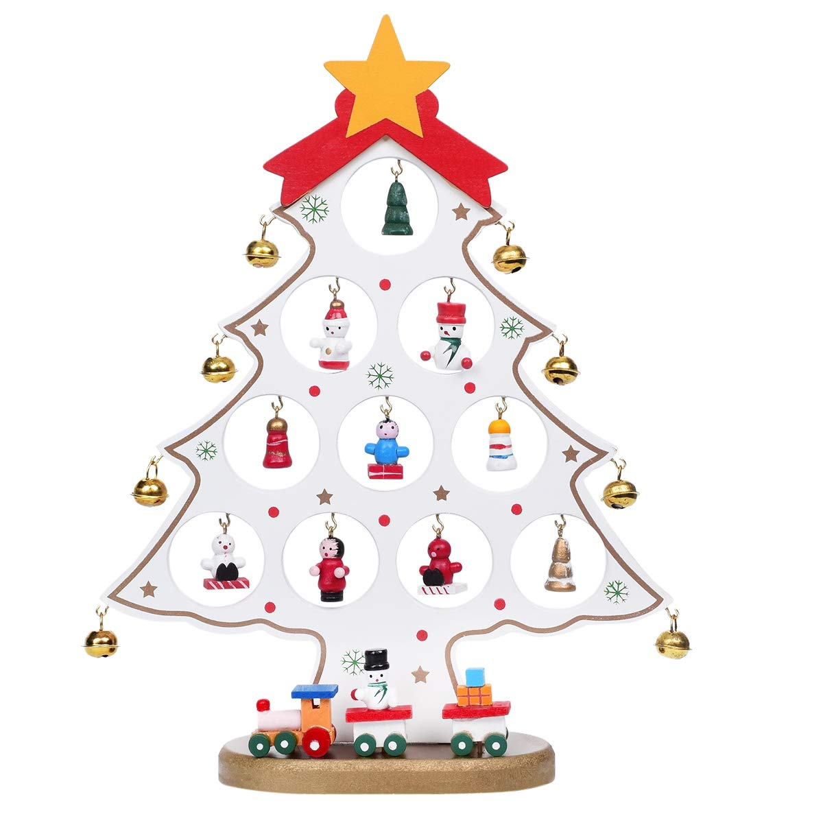 Martine Mall Wooden Desktop Mini Christmas Tree Mini Ornaments