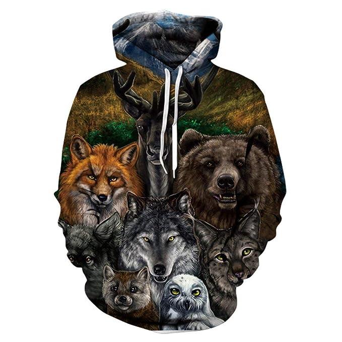 Amazon.com  3D Hoodies Lion 3D Printed Sweatshirt Snow Lion Hoodies ... 9e1a77c5d