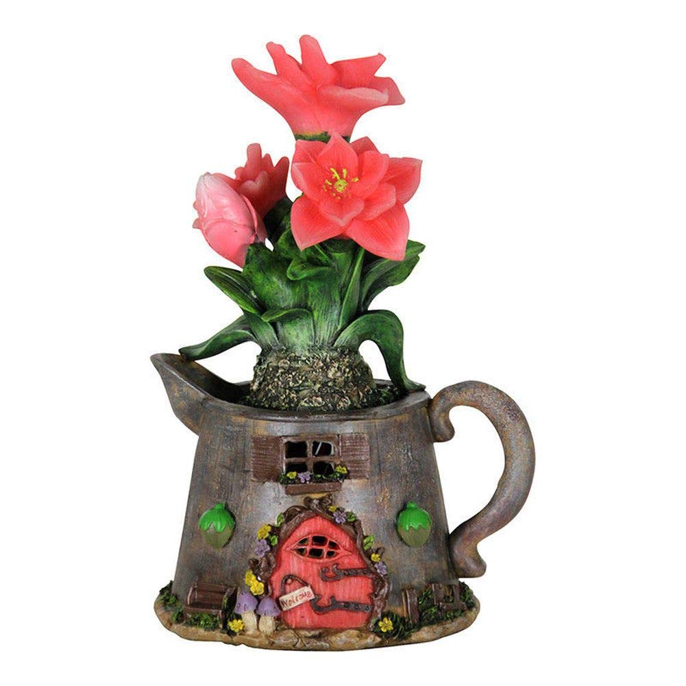 Fairy Garden Mini - Solar Tea Kettle Fairy House With Peach Flowers