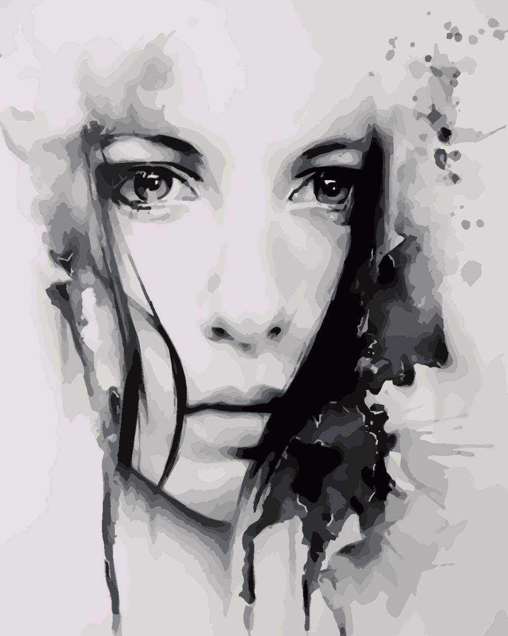 WYTCY Pintar Por Números - Rostro De Mujer. Pintura Al Óleo De Lienzo De Lino, Pintura De Arte Moderno, Kit De Pintura De Bricolaje, Adecuado Para Adultos Y Principiantes40*50CM