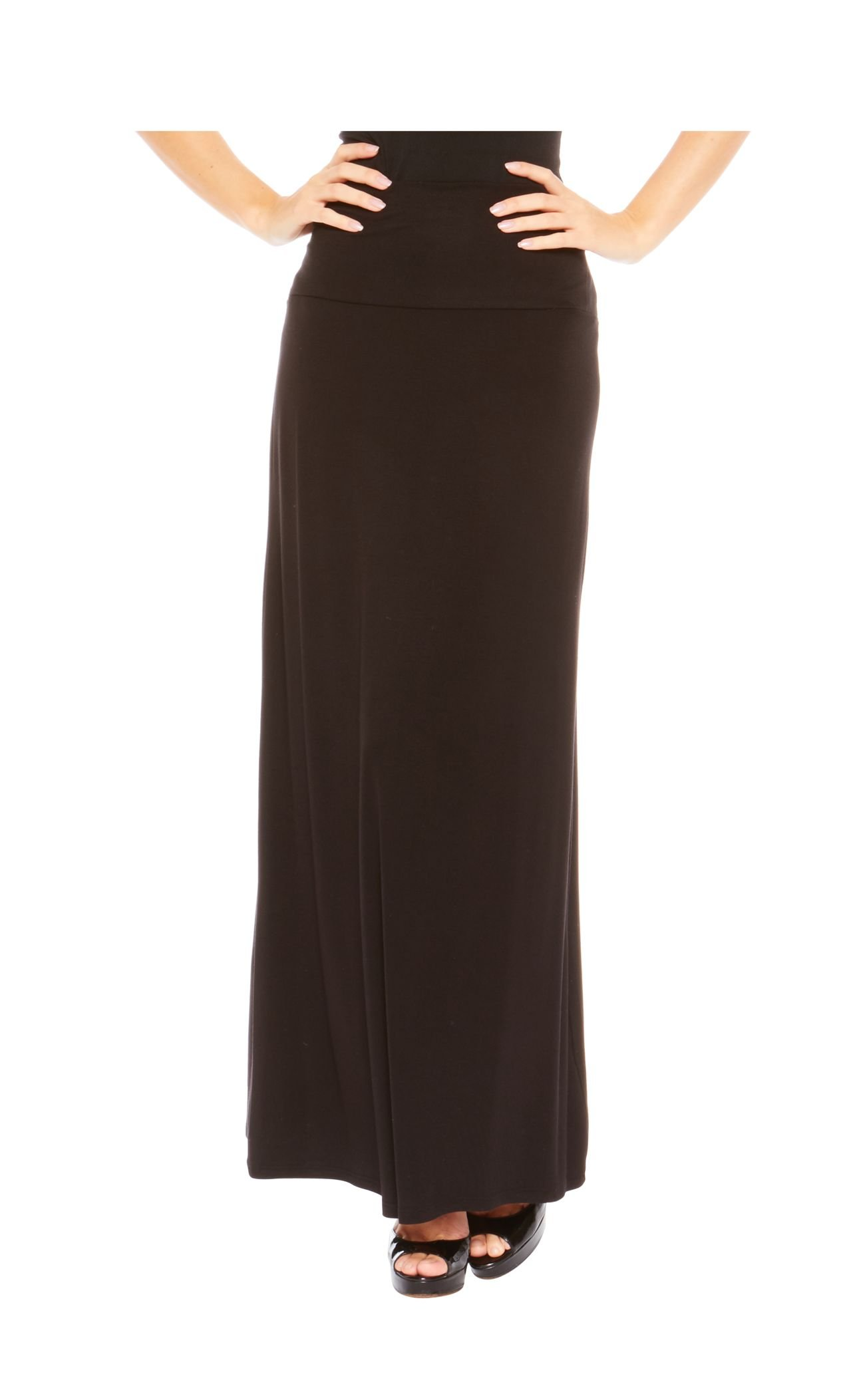 Red Hanger Women's Stylish Solid Long Maxi Skirt - Made in USA, Black-L