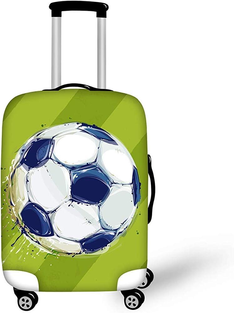 Funda de Equipaje a Prueba de Polvo de Viaje Funda elástica con Estampado de fútbol Verde Proteger Maleta Equipaje