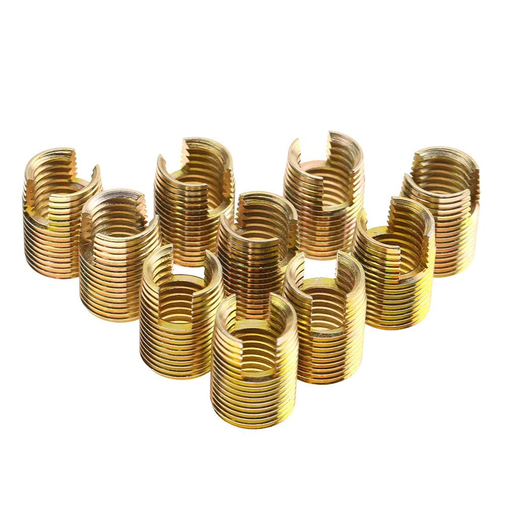 10Pcs Self Tapping Thread Inserts 302 Type Carbon Steel Color Zinc Plated Thread Repair Inserts Nuts Combination Kit Set Replacement for Wood Furniture (Inner M14×2.0 Outer M18×1.5) by Wal front