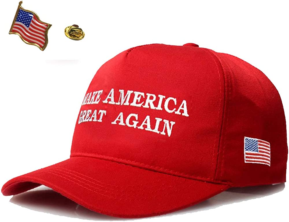 Make America Great Again Donald Trump 2016 Campaign Hat Cap Embroidered USA Flag Lapel Pin Combo Pack by HomeSmith