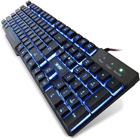 Teclado K-RAY K6 retroiluminada con conexión de cable del juego,3 combinaciones de colores de luz de fondo púrpura / rojo / azul (104 teclas)