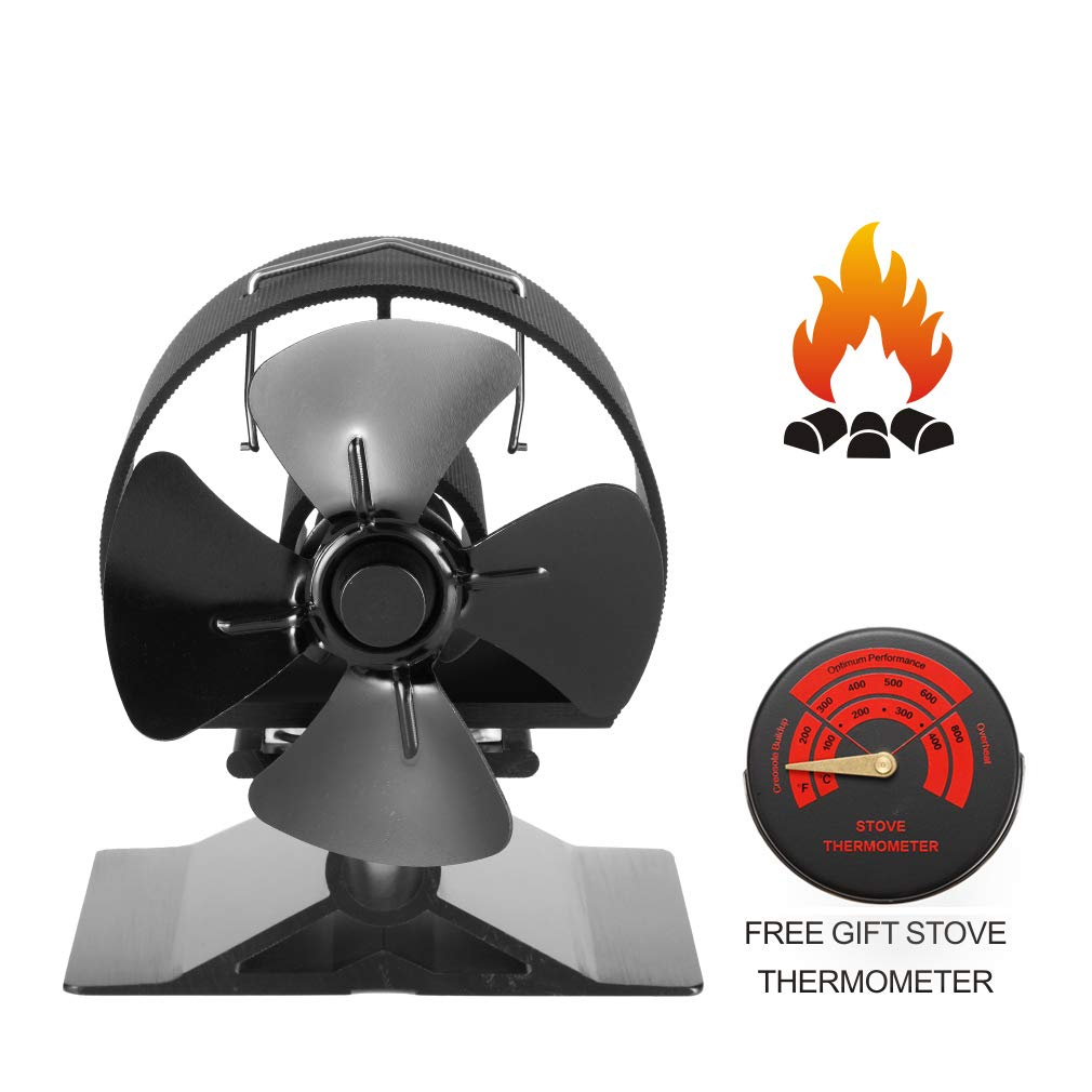 CRSURE Small Fireplace Fan Heat Powered,Anodized Aluminum-Circular Thickened Baffle Protection Motor Design,4-Blade Heat Powered Stove Fan for Wood/Log Burner/Fireplace (Black) by CRSURE