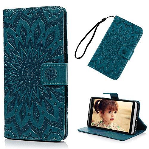 YOKIRIN LG V20 Case, Embossed Sunflower Premium PU Leather Wallet Flip Case Soft TPU Inner Bumper Card Holder Wrist Strap Shock Absorption Protective Phone Case for LG V20 (2016) - Blue Green