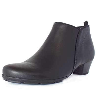 Gabor Trudy Mid Heel Ankle Boots in Black Leather 7 BLACK