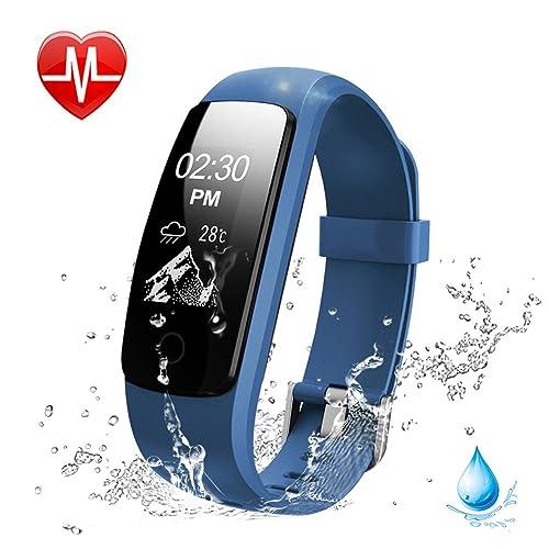 Lintelek Activity Tracker, Fitness Tracker Watch Heart Rate Monitor, Touch Screen Waterproof Smart Watch, Stopwatch, Connected Running GPS, Bluetooth Pedometer