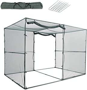 GROWNEER 6.5 x 10 Feet Crop Cage Plant Protection Tent with 6 Ground Staples, Storage Bag, Steel Tubes, Connectors, Suitable for Garden, Yard, Lawn