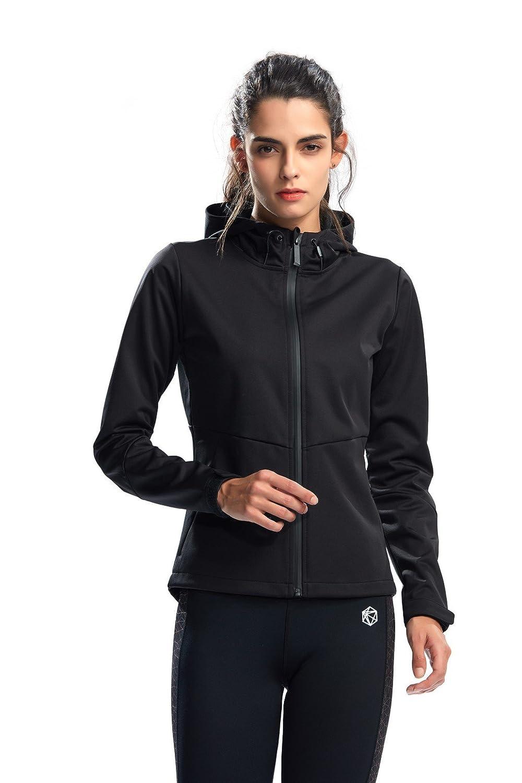 Silik Sudadera deportiva para mujer con capucha, manga larga y cremallera - L73013 BK L, Large, Negro