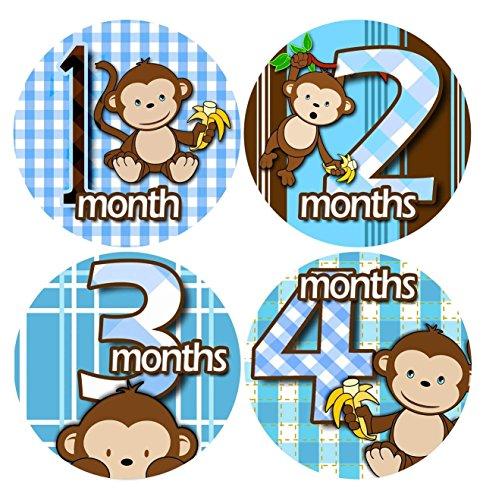 [해외]BOY BANANA BLUE MONKEYS 1-12 Month Baby Monthly One Piece Stickers Baby Shower Gift Photo Baby Shower Stickers / BOY BANANA BLUE MONKEYS 1-12 Month Baby Monthly One Piece Stickers Baby Shower Gift Photo Baby Shower Stickers