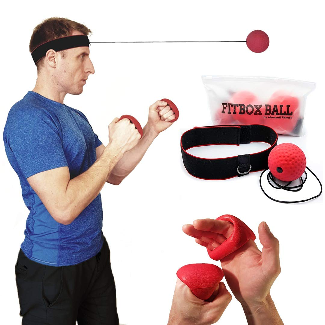 Almasoti FitBox Ball - Reflex Boxing Ball with head band, punching gloves, 1 extra string plus hook tool - Fight and punch like a boxer or MMA pro - fun exercise training equipment for kids and adults