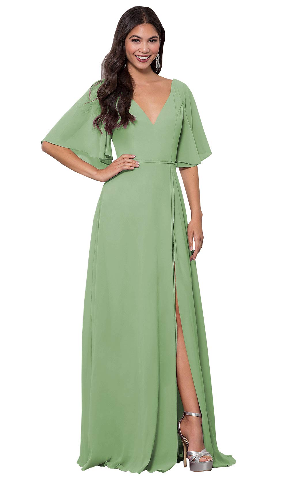 Wedding Guest Dresses With Sleeves.Ufashion Women S V Neck Chiffon Slit Bridesmaid Dresses With Sleeves Wedding Guest Dress Size 6 Dusty Sage